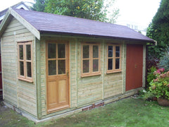 16ft x 8ft Traditional Garden Office with Store. Includes Felt Tiles and Natural Stained Timber Windows and Doors