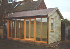 16ft x 8ft Contemporary Garden Office with a Pitched Roof, Red / Brown Felt Tiles and Natural Stained Timber Doors and Windows
