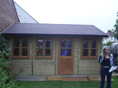16ft x 12ft Traditional Garden Office with Natural Stained Double Glazed Windows and Doors