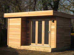 3.8m x 3.0m Cedar Clad Contemporary Garden Office, Mono Roof, with Bi-Fold Doors and Porch Area