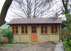 20ft x 12ft Traditional Garden Office, Piched Roof and Double Glazed Windows and Doors in a Natural Stain