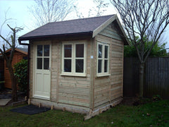 8ft x 8ft Traditional Garden Office, Pitched Roof, Red / Brown Felt Tiles and Cream Double Glazed Windows and Doors