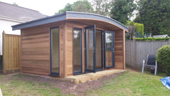 3.8m x 3.0m Curved Roof Cedar Clad Garden Office with uPVC Double Glazed Anthracite Windows and Doors