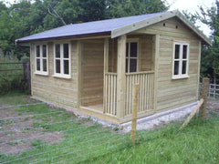 Artrist's Den with Traditional Cream Garden Office Double Glazed Windows and Doors with a Slate Grey Felt Tile Roof
