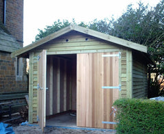10ft x 16ft Feather Edge Timber Garage with Cedar Double Garage Doors