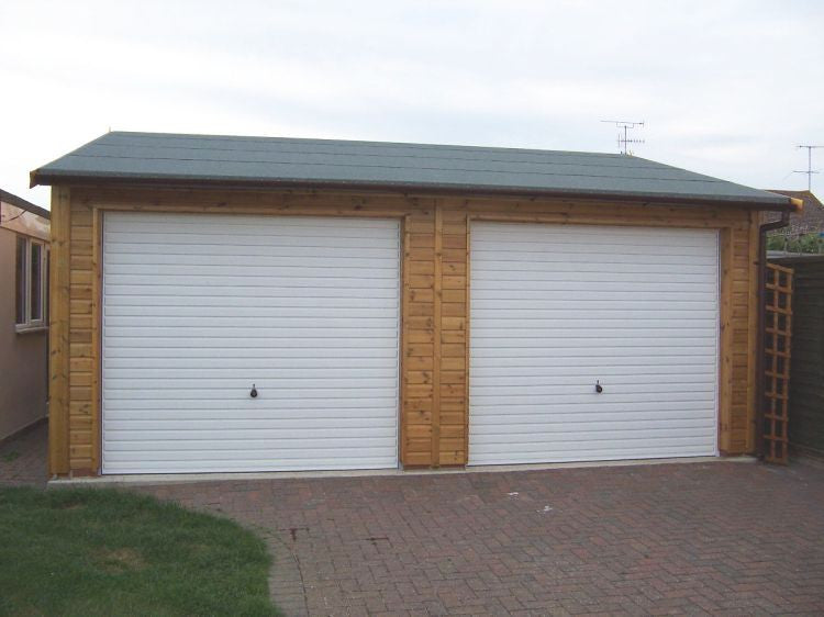20ft X 18ft Double Timber Garage With White Metal Up And Over Doors And A  Green