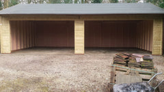 40ft x 20ft Quadruple Timber Garage, Heavy Duty Green Mineral felt and 2 Large Openings for Roller Shutter Doors