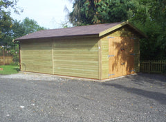 12ft x 20ft Single Timber Garage with Red / Brown Felt Tiles