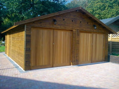 20ft x 26ft Double Timber Garage with Felt Tiles, Personnel Door and Special Motorised Garage Doors