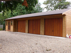 40ft x 20ft Quadruple Timber Garage Including 3 Recessed Garage Bays and a Garden Office with Contemporary Garden Windows and Doors