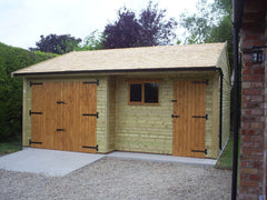 Recessed Double Timber Garage with Cedar Shingle Roof