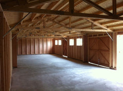 60ft x 20ft Timber Garage, Internal View Showing 2 Side Pod Partitions Required for Structural Purposes