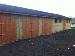 Large 6 Bay Timber Garage Split into a 3 Bay Garage with Standard Garage Doors and a 30ft x 20ft Snooker Room all Covered with a Black Onduline Roof