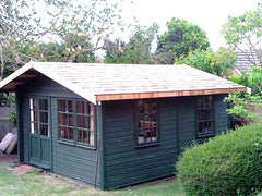 14ft x 10ft Summer Room Timber Garden Building with a Cedar Tile Roof and Painted By the Customer