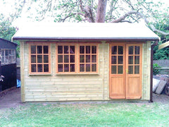 14ft x 8ft Orchard Room Garden Building with a Set of 6 Pane Double Doors and 3 - 9 Pane Windows with Top Openers.