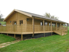 Timber Frame Village Hall at Colne Valley with Pavilion Overhang, Decked Area and Balustrade