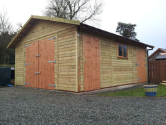 Large Single Timber Garage, 4.9m x 6.1m with Standard Double Doors, 2 Personnel Doors and a Standard Garage Window
