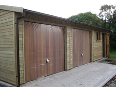 30ft x 20ft Triple Timber Garage with 2 Cedar Up and Over Doors, Felt Tiles, a Standard Window and Personnel Door