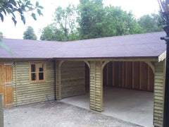 Corner Feather Edge Timber Garage with 2 Cart Lodge Openings, Garden office Windows, Stable Door and Felt Tiles