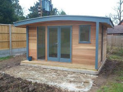 3.8m x 3.0m Curved Roof Cedar Clad Garden Office with Double Glazed Anthracite Windows and Doors