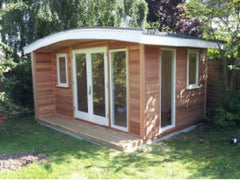 3.8m x 3.0m Curved Roof Cedar Clad Garden Office with Double Glazed White Windows and Doors