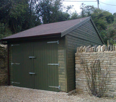 10ft x 18ft Single Timber Garage with Double Doors Under the Eaves and a Felt Tile Roof