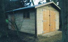 10ft x 16ft Single Timber Garage with Standard Double Doors, a Personnel Door and Heavy Duty Green Mineral Felt
