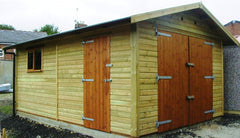 12ft x 18ft Single Timber Garage, Including Double Garage Doors, a Standard Window and Personnel Door and Green Heavy Duty Mineral Felt