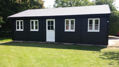 Traditional Style Garden Office with Black Cedral Cladding and White uPVC Double Glazed Doors and Windows
