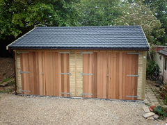 Double Timber Garage with Cedar Double Doors and Recycled Roof Tiles