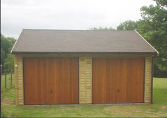 20ft x 20ft Double Timber Garage with Cedar Up and Over Doors under the Eaves and Felt Tiles