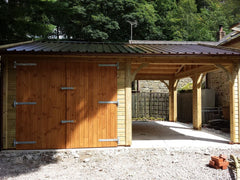 Double Timber Garage with Cart Lodge Car Port and Rollaclad Metal Roof