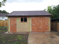 20ft x 20ft Double Timber Garage with a Set of Standard Timber Doors and a Personnel Door and Felt Tile Roof