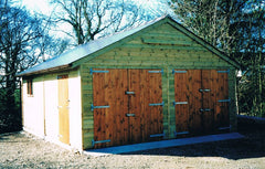 Double Timber Garage with Standard Timber Doors in the Gable End. Featuring a 30 Degree Pitched Roof and Clay Tiles