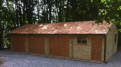 40ft x 20ft Quadruple Timber Garage with 3 Sets of Standard Double Doors, a Workshop and Cedar Shingle Tiles