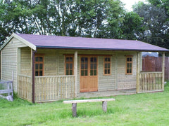 24ft x 16ft Pavilion Featuring Standard Doors and Windows with a Partition and two Personnel Doors