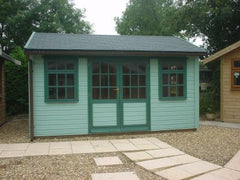 14ft x 10ft Orchard Room Garden Building with a Set of 9 Pane Double Doors, 3 - 9 Pane Windows with Top Openers and Grey Felt Tiles