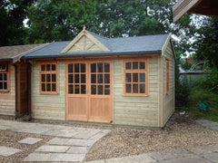 14ft x 10ft Orchard Room Garden Building with a Set of 9 Pane Double Doors, 3 - 9 Pane Windows with Top Openers False Gable Roof Detail Over Double Doors