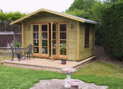 14ft x 10ft Summer Room Timber Garden Building with Contemporary Double Doors and Sight Lights