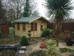 10ft x 8ft Summer Room Garden Buildings with 6 Pane Double Doors, a 6 Pane Window and 2, 9 Pane Windows with Top Openers