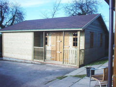 22ft x 18ft Pavilion with Barn Double Doors, Georgian Windows and 2 Internal  Partitions with 2 Personnel Doors