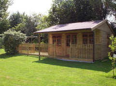 16ft x 16ft Pavilion with Standard Doors and Windows, Extended Decked Area, Balustrade and a Felt Tile Roof