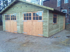 20ft x 20ft Double Timber Garage with Special Doors, Fitted with Glazed Panels, Doors are only 7ft Wide in this Instance