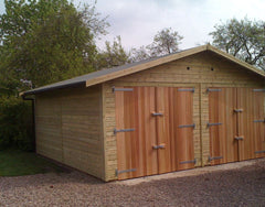 18ft x 18ft Double Timber Garage with Cedar Framed Double Doors and a Heavy Duty Green Mineral Felt Roof