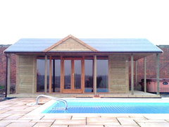 Swimming Poole Pavilion with Full Length Contemporary Double Glazed Windows and Doors and False Gable on the Roof