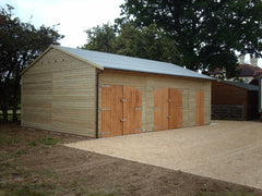30ft x 20ft Triple Timber Garage with Increased Eaves Height for Car Lift and a Heavy Duty Green Mineral Felt Roof