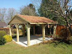 Open Timber Garage with Cart Lodge Detail and Clay Tiles, Used as a Garden Kitchen