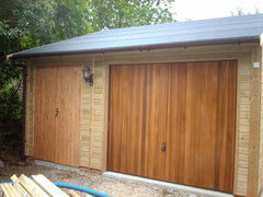 Single Timber Garage with a Workshop to the Side, Fully Framed Double Doors, a Cedar Infill Up and Over Garage Door and Heavy Duty Green Mineral Felt