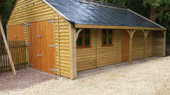 Timber Garage in Feather Edge Cladding Designed to be a Workshop and Office with Cart Lodge Detail