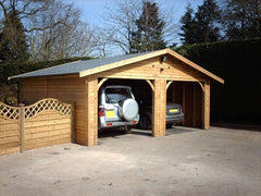 20ft x 20ft Double Timber Garage with 2 Cart Lodge Openings and Slate Grey Felt Tiles